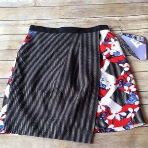 Peter Pilotto red floral & stripe faux wrap skirt.